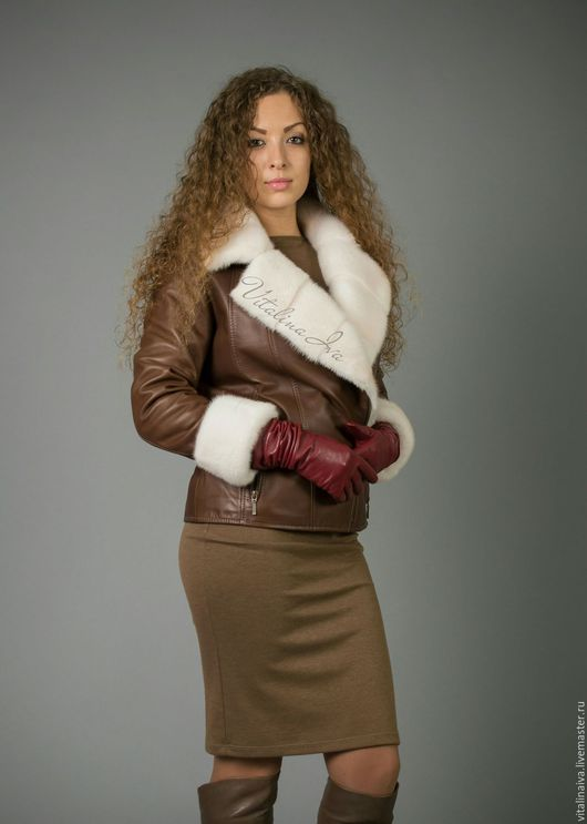 Верхняя одежда ручной работы. Ярмарка Мастеров - ручная работа. Купить Кожаная куртка с норкой Кристалл. Handmade. Куртка