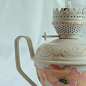"""Для дома и интерьера ручной работы. Ярмарка Мастеров - ручная работа Керосиновая лампа на светодиодах """"Маки""""золото бежевый розовый. Handmade."""