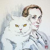Картины ручной работы. Ярмарка Мастеров - ручная работа Портрет девушки с котом 32x32 японская живопись суми-э белый британец. Handmade.