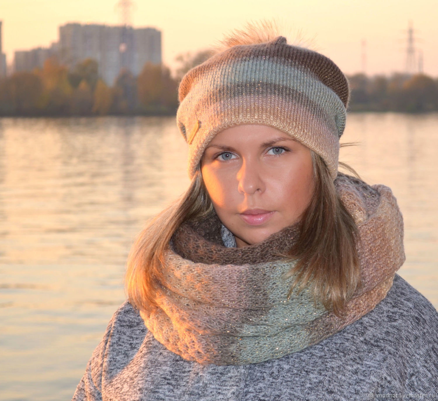 Winter women's set double hat Snood ' Mountain River', Caps, Moscow,  Фото №1