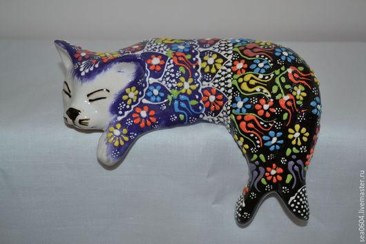 Статуэтки ручной работы. Ярмарка Мастеров - ручная работа. Купить Статуэтка кошка фиолетовая. Handmade. Тёмно-фиолетовый, статуэтки, фигурки