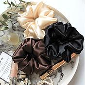 Украшения handmade. Livemaster - original item Set of 3pcs silk elastic bands 100% silk Black, Beige, brown. Handmade.