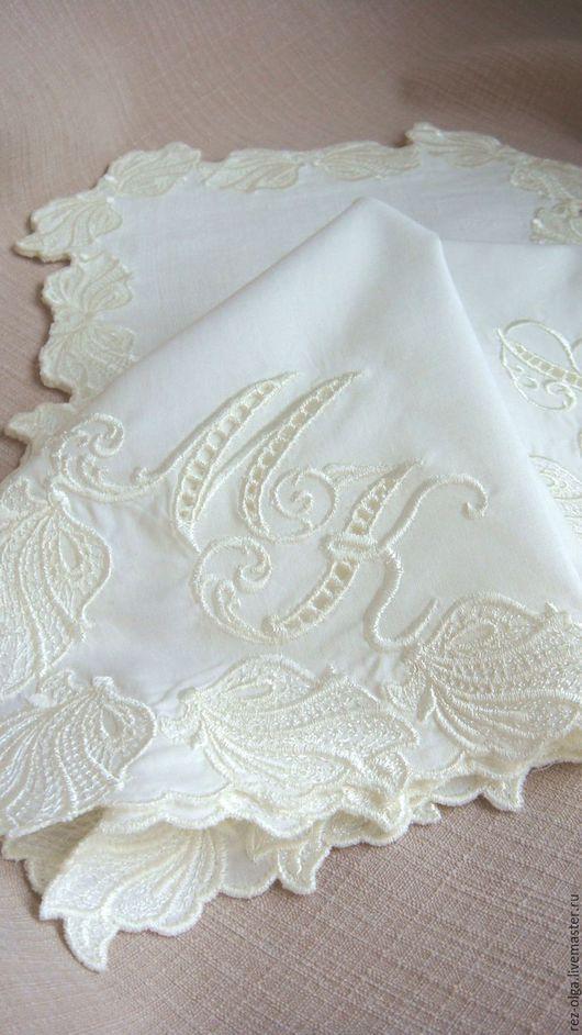 Носовые платочки ручной работы. Ярмарка Мастеров - ручная работа. Купить Набор вышитых батистовых платочков номер 4. Handmade.
