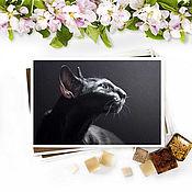 Открытки handmade. Livemaster - original item Postcard Black cat Pleasure. Handmade.