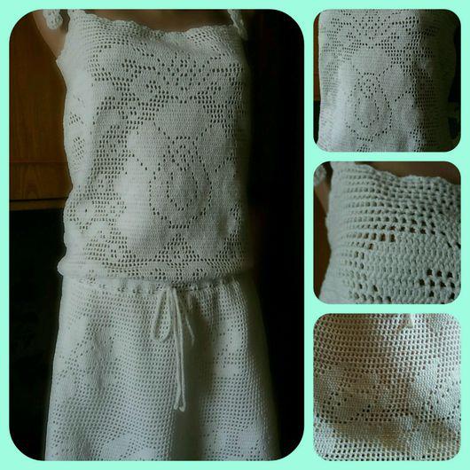 Платья ручной работы. Ярмарка Мастеров - ручная работа. Купить Сарафан крючком. Handmade. Сарафан, белое платье, пляжная одежда
