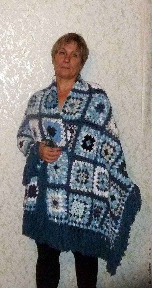 """Шали, палантины ручной работы. Ярмарка Мастеров - ручная работа. Купить Палантин """"Бабушкин квадрат"""". Handmade. Голубой, палантин"""