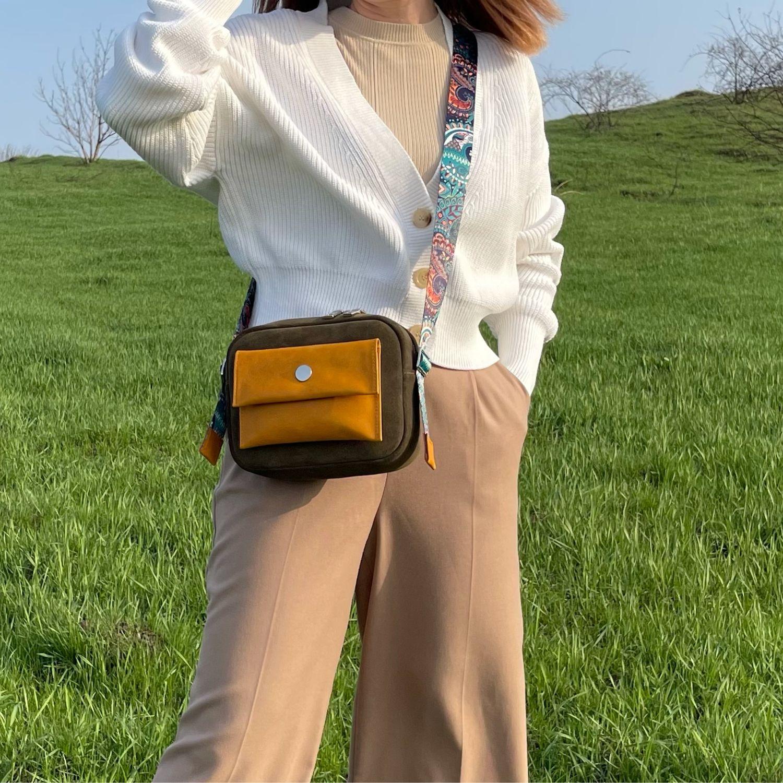 Cross-body bag made of suede color olive sun, Messenger Bag, Armavir,  Фото №1