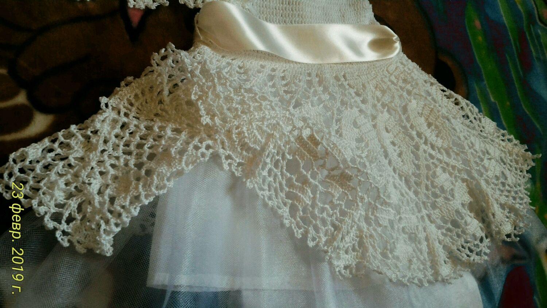Платье праздничное для девочки ажурное вязаное крючком