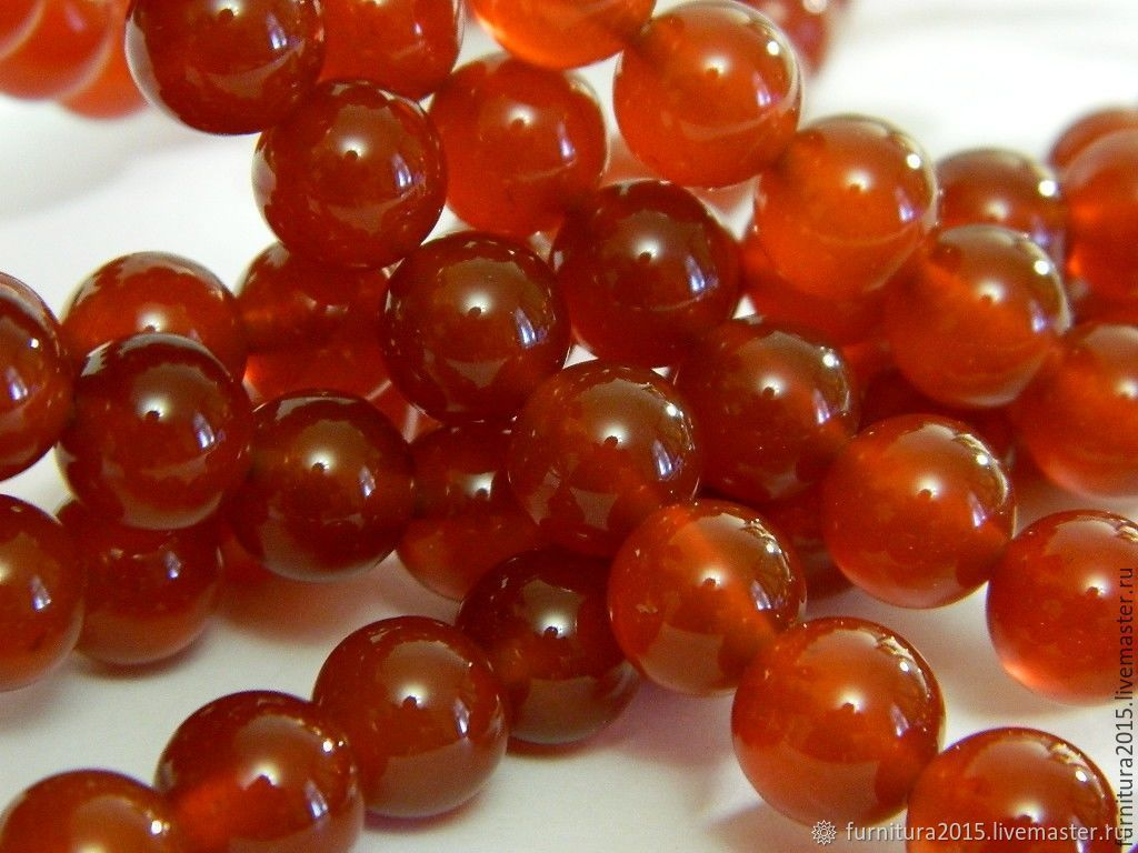 Carnelian beads natural 10 mm. for PCs, Beads1, Saratov,  Фото №1