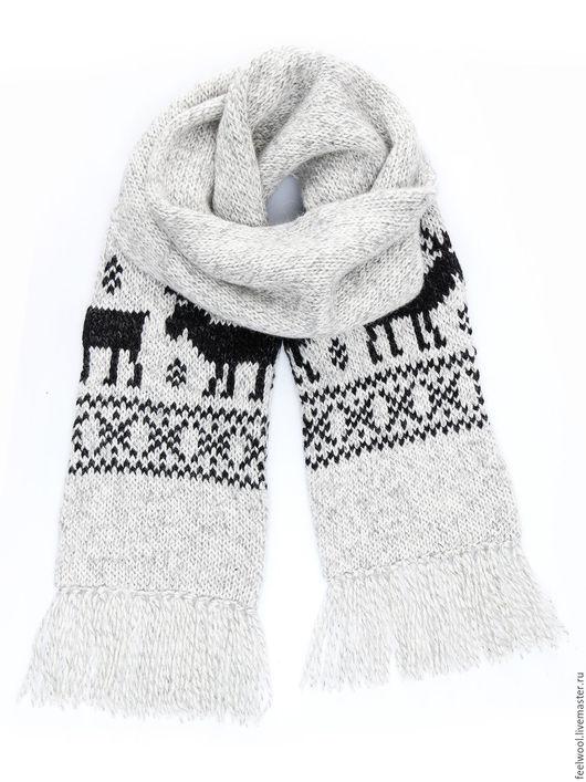 Шарфы и шарфики ручной работы. Ярмарка Мастеров - ручная работа. Купить Вязаный шарф с оленями из 100% новозеландской шерсти. Handmade.