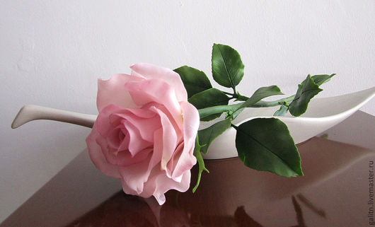 Цветы ручной работы. Ярмарка Мастеров - ручная работа. Купить Роза. Handmade. Бледно-розовый, крупная роза, полимерная глина