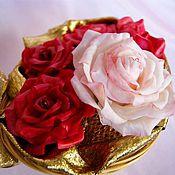Цветы и флористика ручной работы. Ярмарка Мастеров - ручная работа Корзиночка с розами. Handmade.
