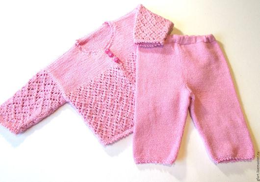 Одежда для девочек, ручной работы. Ярмарка Мастеров - ручная работа. Купить Детский костюм розовый для девочек 3-6 мес. полушерсть. Handmade.