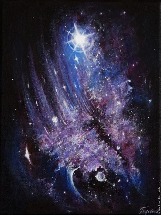 """Фантазийные сюжеты ручной работы. Ярмарка Мастеров - ручная работа. Купить Картина """"К Звездам..."""". Handmade. Комбинированный, звезды"""