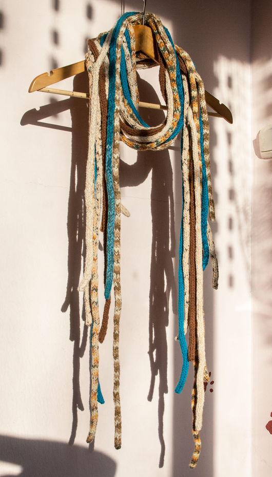 Шарфы и шарфики ручной работы. Ярмарка Мастеров - ручная работа. Купить Дредо-шарф беж и бирюза. Handmade. Комбинированный