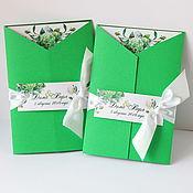 """Свадебный салон ручной работы. Ярмарка Мастеров - ручная работа Свадебные приглашения """"Пионы и гортензия"""" в зеленом цвете. Handmade."""