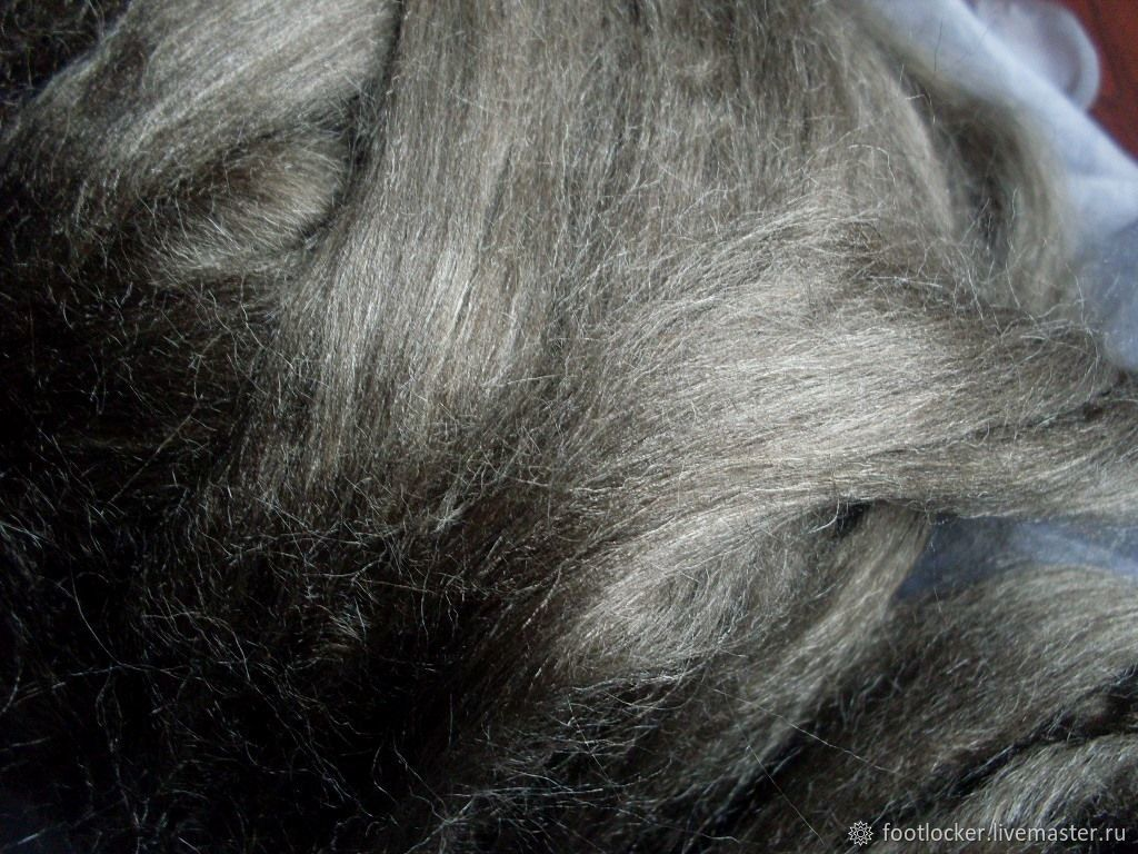 Индийский шелк Nassi для валяния/прядения, Темный натур.цвет, 10 гр, Волокна, Ловеч,  Фото №1