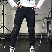 Одежда handmade. Livemaster - original item Knitted women`s trousers, warm black narrowed trousers with stripes. Handmade.