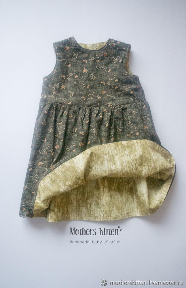 Двухстороннее платье, оливка+серый