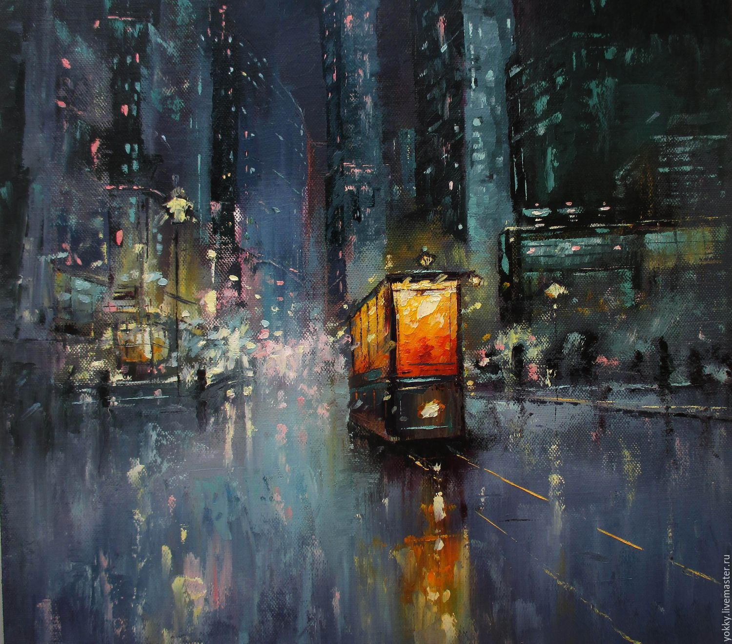 16x16 Original Oil Painting Night Tram Shop Online On