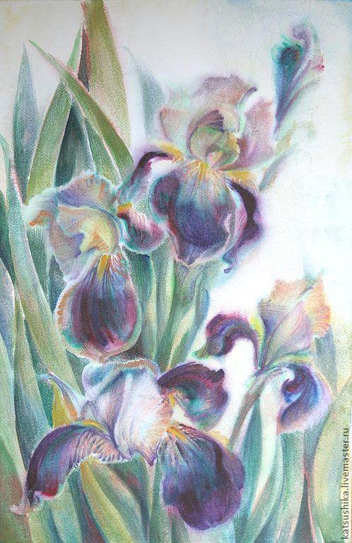 """Картины цветов ручной работы. Ярмарка Мастеров - ручная работа. Купить Картина """"Ирисы"""". Handmade. Сиреневый, ирисы, весна, цветы"""