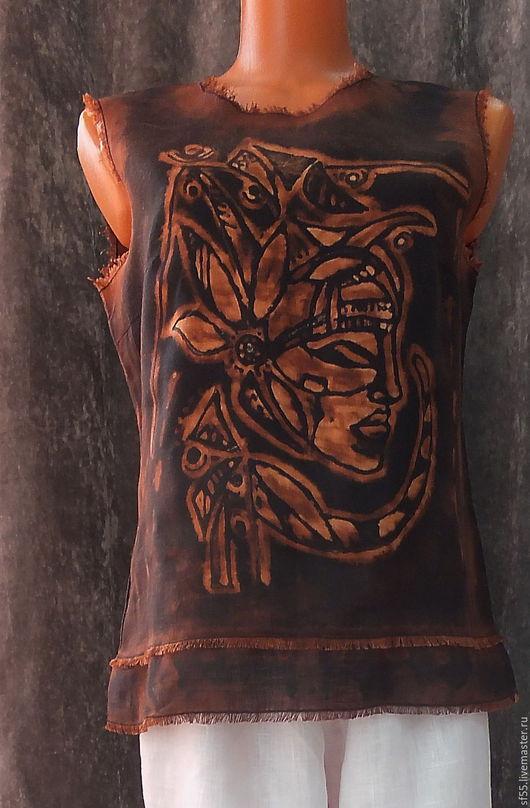 """Топы ручной работы. Ярмарка Мастеров - ручная работа. Купить Блуза,  топ, майка из льна  """"Хулиганка Маска"""" черная. Handmade."""