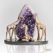 Сувениры и подарки handmade. Livemaster - original item Company Noble giraffes bronze with amethyst gift to the head. Handmade.