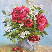 Картины и панно handmade. Livemaster - original item Peonies and red cherry oil Painting 35h40cm. Handmade.