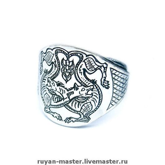 """Кольца ручной работы. Ярмарка Мастеров - ручная работа. Купить перстень """"Волки"""". Handmade. Серебряное кольцо, мужское кольцо"""