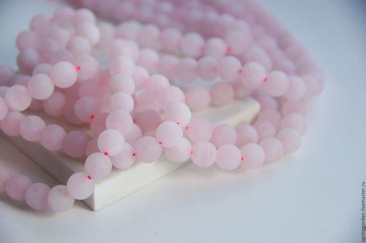 Для украшений ручной работы. Ярмарка Мастеров - ручная работа. Купить Розовый кварц  бусины 8 мм гладкий матовый шар. Handmade.
