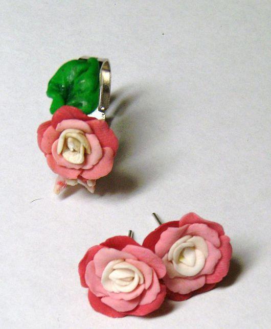Комплекты украшений ручной работы. Ярмарка Мастеров - ручная работа. Купить Розовые розы. Handmade. Авторские серьги, полимерная глина