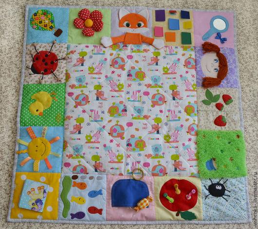 Развивающие игрушки ручной работы. Ярмарка Мастеров - ручная работа. Купить Развивающий коврик для малышей №2. Handmade. Разноцветный, пуговки