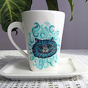 """Посуда ручной работы. Ярмарка Мастеров - ручная работа Чайная пара """"Улыбка Чеширского кота"""". Handmade."""