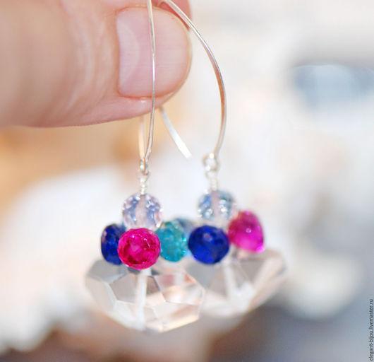 серьги серебряные купить; купить серебряные серьги; серьги с хрусталём; серьги серебро камни; серьги с камнями; красивые серьги; авторские серьги; серьги разноцветные; серьги серебро 925 пробы