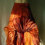 """Одежда ручной работы. Ярмарка Мастеров - ручная работа Юбка бохо стиль валяная """"Солнечный ветер"""" ,на запахе. Handmade."""