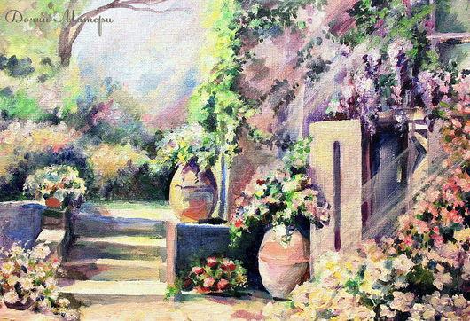 Пейзаж ручной работы. Ярмарка Мастеров - ручная работа. Купить Полуденный зной. Handmade. Южный парк, цветы, дворик, солнце