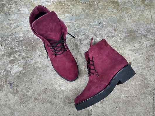 Обувь ручной работы. Ярмарка Мастеров - ручная работа. Купить Женские ботинки в стиле гранж Anna Chaqrua. Handmade. Бордовый