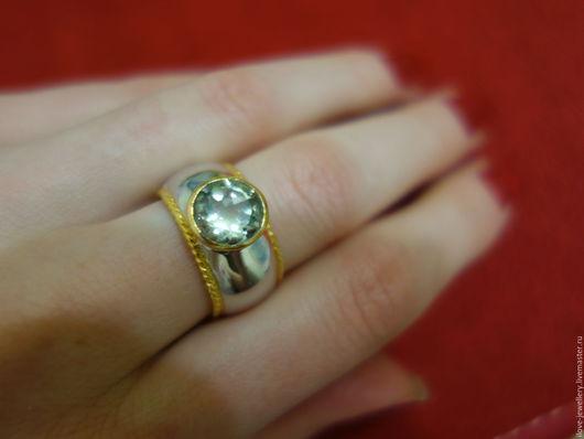 """Кольца ручной работы. Ярмарка Мастеров - ручная работа. Купить """"Orazio""""-стильное серебряное кольцо с зеленым аметистом. Handmade. Мятный"""