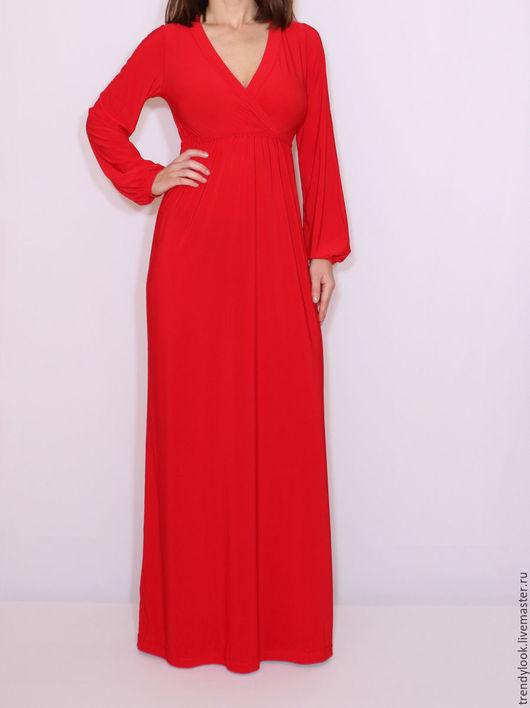 Платья ручной работы. Ярмарка Мастеров - ручная работа. Купить Ярко-красное платье в пол платье с длинным рукавом. Handmade.