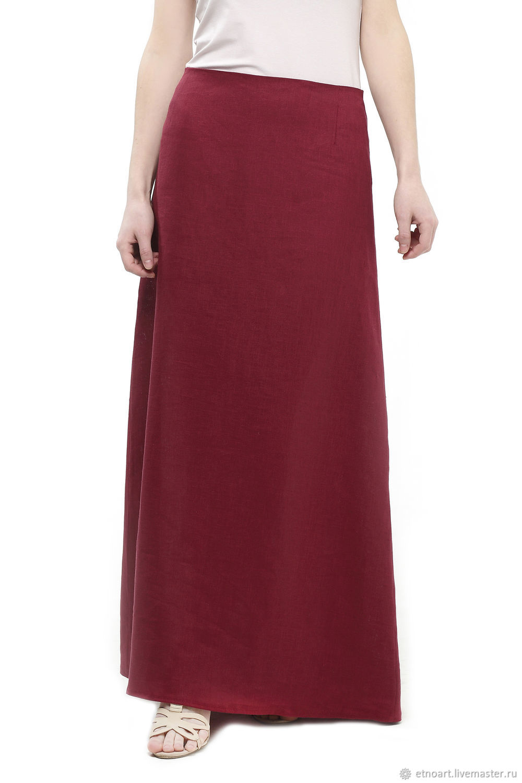Cherry skirt made of 100% linen, Skirts, Tomsk,  Фото №1