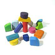 Куклы и игрушки ручной работы. Ярмарка Мастеров - ручная работа Цветные деревянные кубики 15шт. Эко краска БИОФА. Handmade.