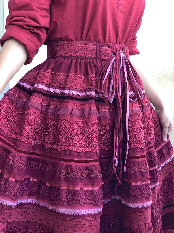 Boho style skirt made of cotton and lace bright summer demi season cherry, Skirts, Tashkent,  Фото №1