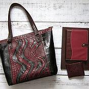 Женская сумка - Yulada Bag Bordo (L) (печворк №2