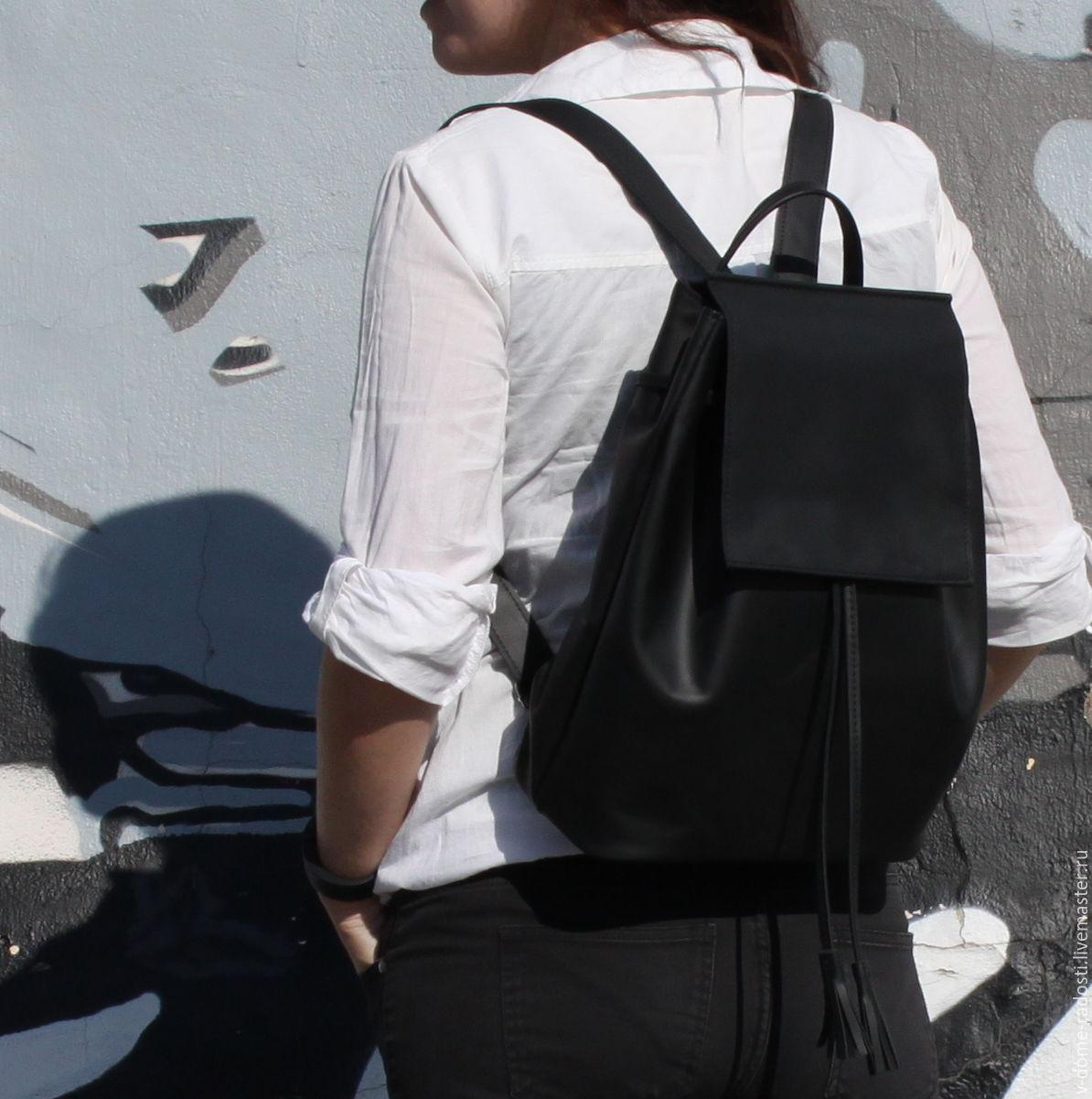 49b08f9b77ee ... Кожаный женский рюкзак, купить рюкзачок на лето, небольшой кожаный  рюкзак, черный кожаный рюкзак ...