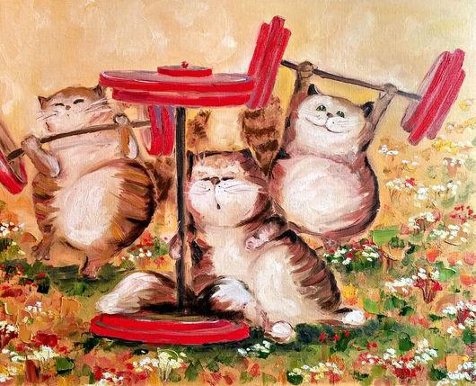 """Животные ручной работы. Ярмарка Мастеров - ручная работа. Купить Картина маслом с котами """"Спортивная семейка"""". Handmade. Рыжий"""