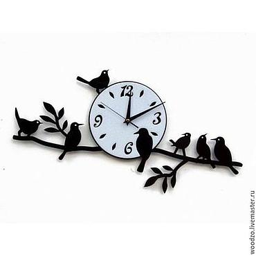 """Для дома и интерьера ручной работы. Ярмарка Мастеров - ручная работа Деревянные часы """"Птицы на ветке"""". Handmade."""
