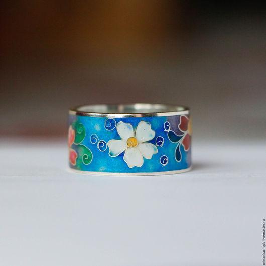 """Кольца ручной работы. Ярмарка Мастеров - ручная работа. Купить Кольцо  """"Нежные цветы"""" из серебра с эмалью. Минанкари. Handmade."""