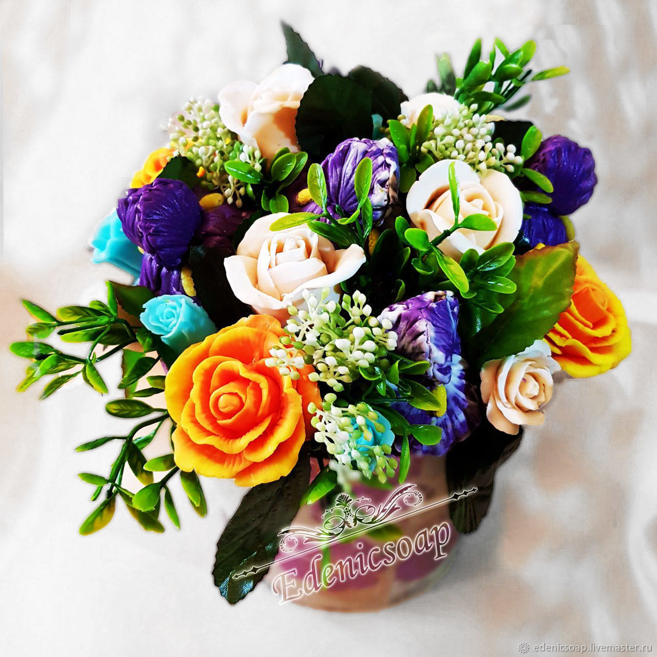 Roses and irises handmade soap flowers composition bouquet, Soap, Moscow,  Фото №1