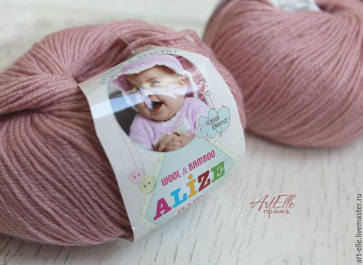 Вязание ручной работы. Ярмарка Мастеров - ручная работа. Купить Пряжа Alize Baby Wool цвет пудра, шерстяная пряжа с вискозой. Handmade.