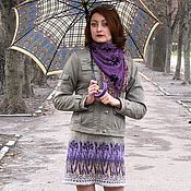 Одежда ручной работы. Ярмарка Мастеров - ручная работа юбка, вязанная спицами жаккардовым рисунком Ирисы. Handmade.